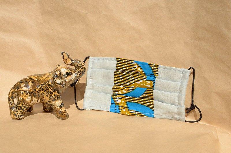 非洲花布口罩套-爵士圈圈(雙拼灰底)