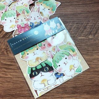 Matte Texture Sticker / Mid-Autumn Moon White Rabbit (10 pieces)
