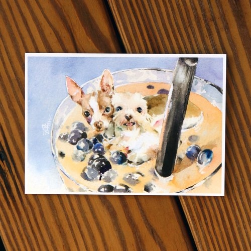 Watercolor painted Mao series postcards - Jane milk bath