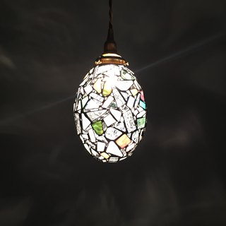 Jewel night pendant light clear pink & muscat glass Bay View