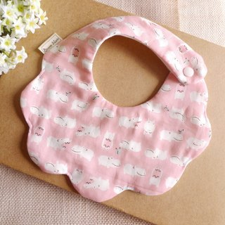 Six layers of yarn around the bibs bibs - cute little hippo (pink)