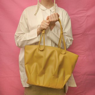 Shell dance | yellow pleated shell tote bag large-capacity shopping bag shoulder bag leather top layer cowhide