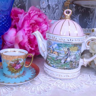 Anne Crazy Antiquities Vintage Retro Antique British Bone China British Made Sadler Pink Hunting Flower Teapot Happy Afternoon Tea Series, Cute Stock New