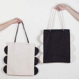 Tote bag semicircle patchwork style white and black color
