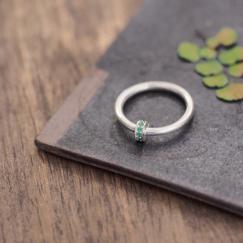 祖母綠戒指銀925
