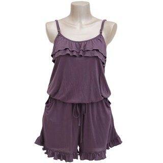 Adult cute camisole ruffle all-in-one <charcoal>