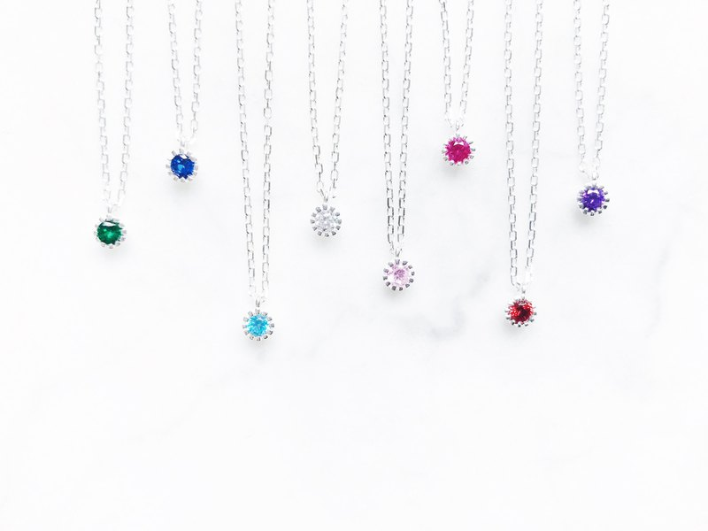 :: Noon Time Series:: Mini Zircon (8 Colors) Sterling Silver Shimmer Clavicle Chain