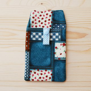Floral gingham pocket pencil case/document bag
