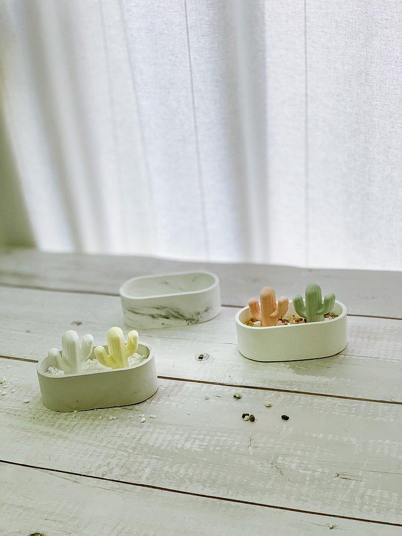 室內香氛造型擴香石-療癒仙人掌 + 橢圓形栽器 / 質感收納盤
