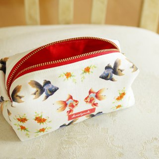 Cosmetic Case Makeup Bag Zipper Pouch Porch goldfish red yellow orange