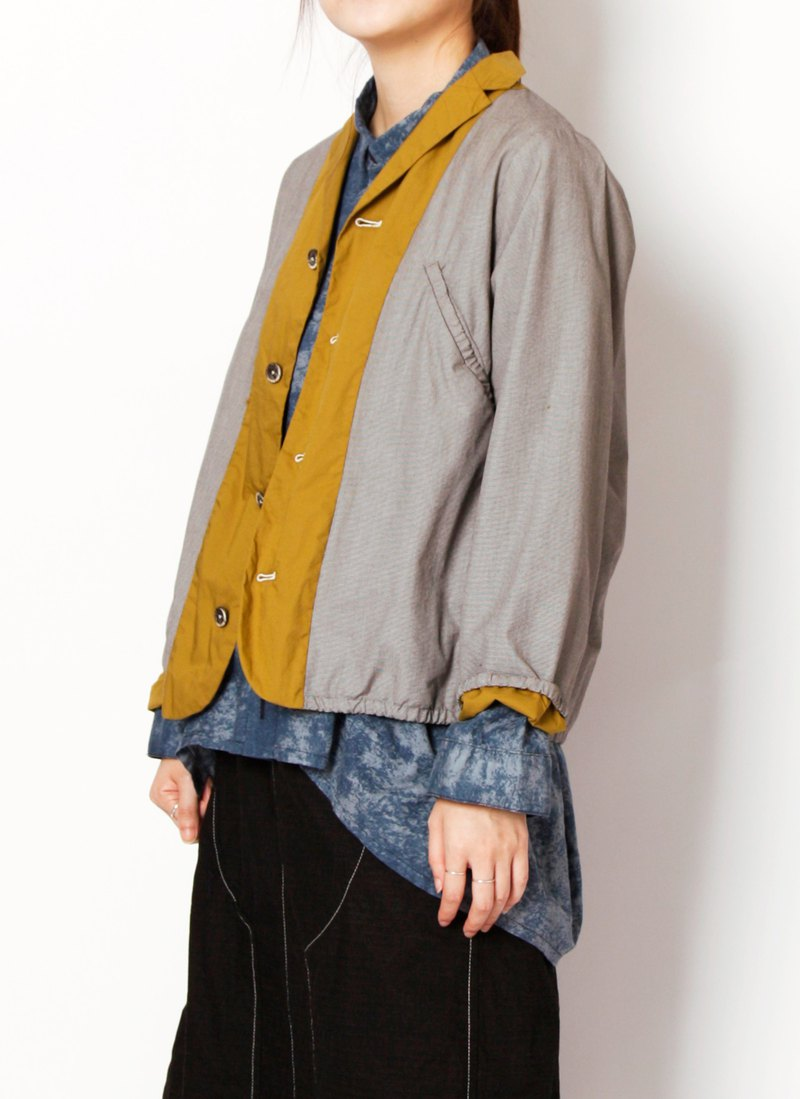 Earth _ deciduous colorful contrast two-piece large pocket jacket