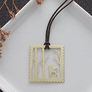 Ni.kou brass carved bookmark - stamp forest fawn
