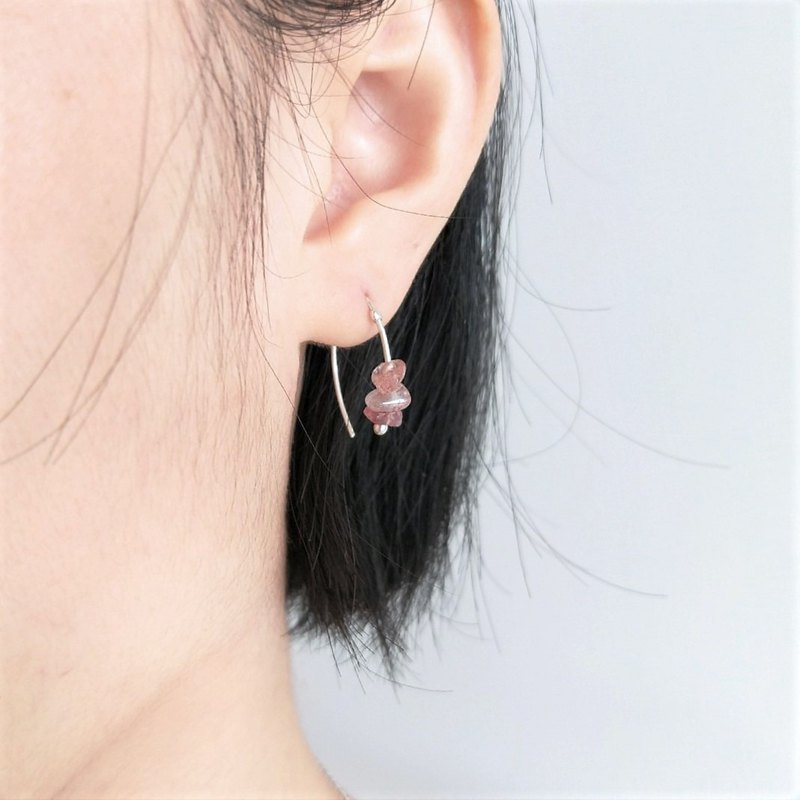 │Natural Stone │ Strawberry Crystal Earrings • Sterling Silver Earrings • Ear clips • Designer original