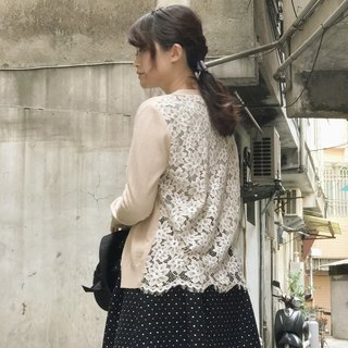 MIT limit amount behind lace knitted short jacket