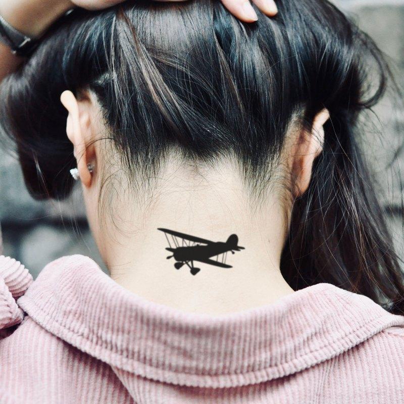 OhMyTat 航空飛機 Aircraft 刺青圖案紋身貼紙 (2 張)