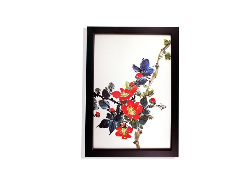 Fire red - hand-painted paintings camellia Chinese painting l home decoration (with picture frame)