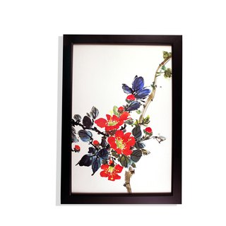 Hand-painted paintings, camellia, Chinese painting ornaments (with picture frame)
