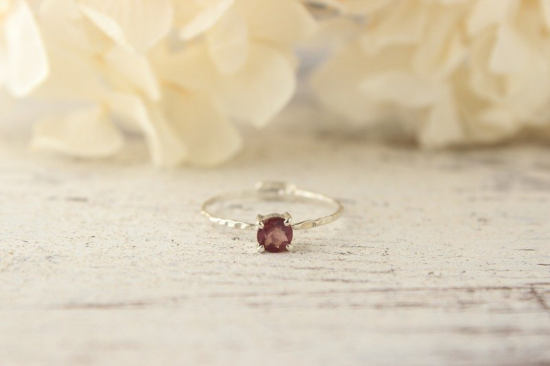 Pink Spinel Silver Ring