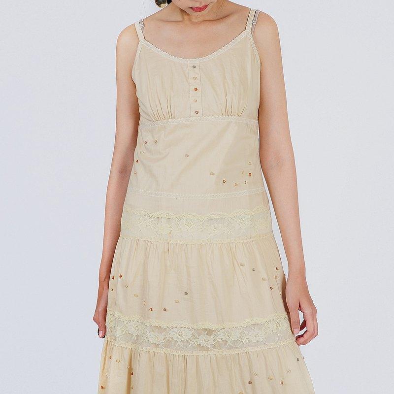 【蛋植物古着】晨光蕾絲細肩帶棉質古著洋裝