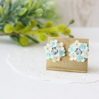 White and pastel blue flowers and Swarovski bouquet earrings
