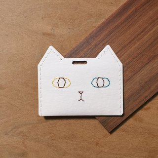 White cat ticket holder