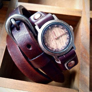 Vintage simple hand-carved wooden surface watch handmade leather strap (SOLD has been sold out)