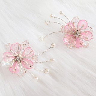 Miss Paranoid Miss Paranoia Snow Sakura Cherry Blossoms and Pearl Pink Resin Earrings