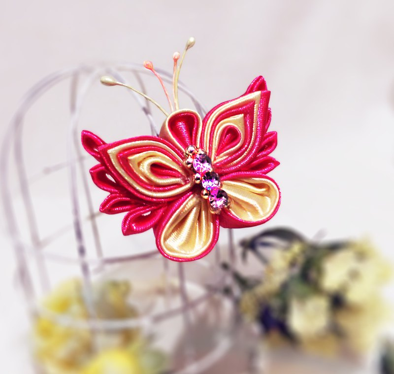 Bright red butterfly flutters handmade pearl ribbon brooch