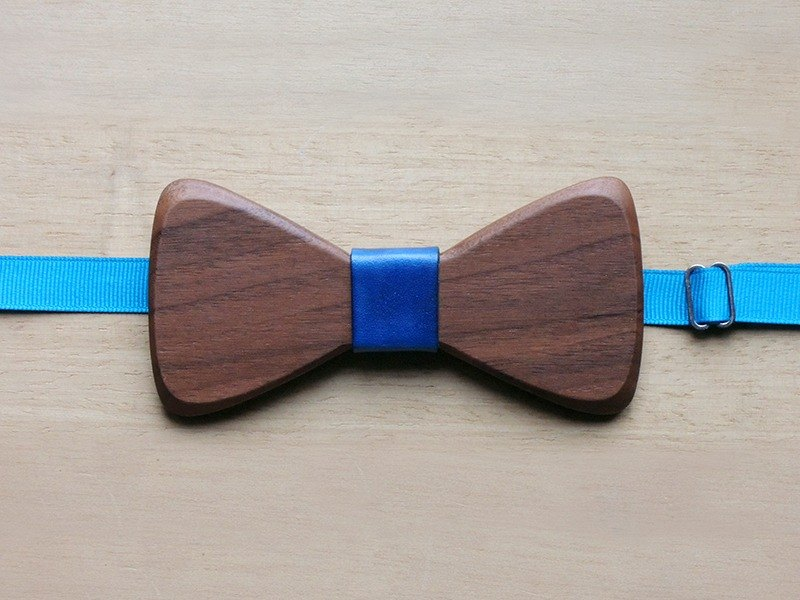 Natural Log Bow Tie - Walnut + Blue Leather (Gift / Wedding / Newcomer / Official Occasion / Accessories)