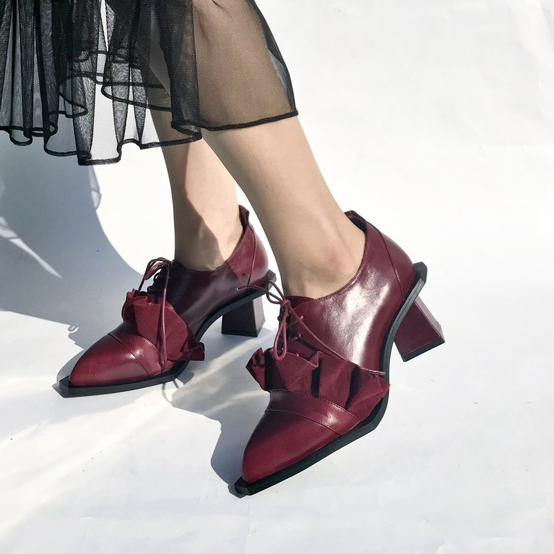 Petal collar with leather half ankle boots | | Matisse one-man show wine red | | #8145