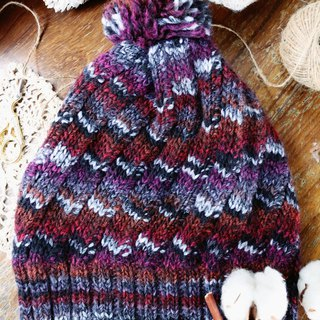 Hand made - rotating the world - paragraph dyeing - wool wool cap
