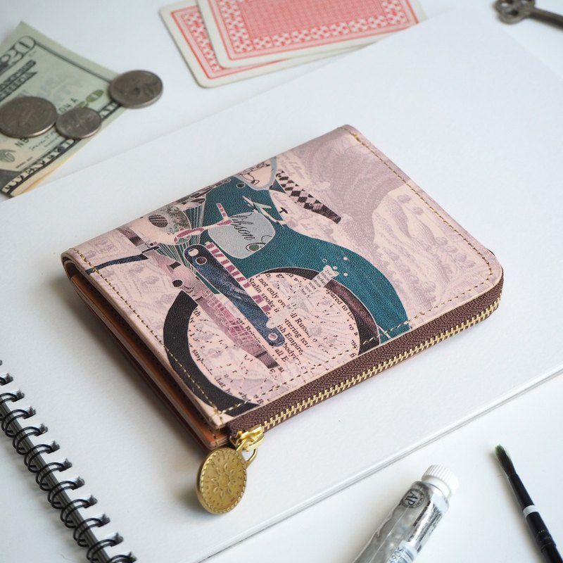 L-shaped zipper wallet / retro bike ILL-1157