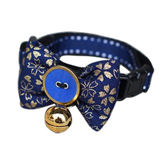 Pet dog collar Blue Yao Shan cherry bow tie S ~ L