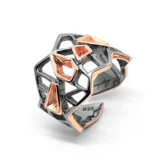 WIREFRAME Ring / Black - 18K Rose Gold  (2-tones)