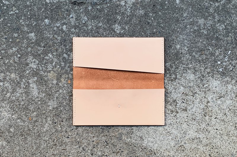 Minimalist long clip / wallet / card holder hand-stitched vegetable-tanned cow leather