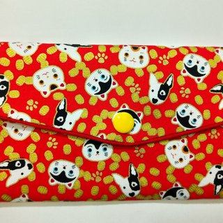 Lucky double red envelope bag / passbook storage bag (19 cats and dogs with money)