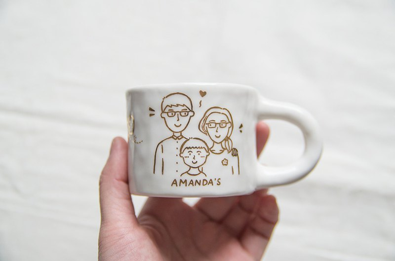 Limited-time free shipping gifts custom painted gold hand-painted couple portrait hand-pinch ceramic cup wedding anniversary gift family portrait