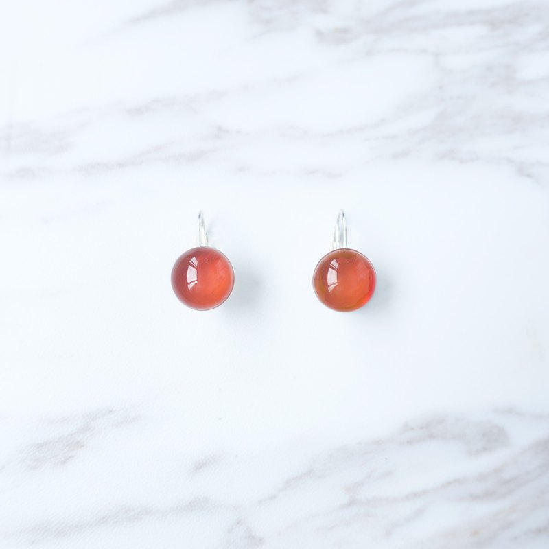 DROPLET Water Drop Series-Red Agate Sterling Silver Waterproof Safety Earrings