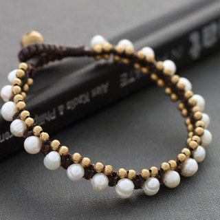 Pearl Bracelets Brass Woven Beaded Bracelets Cuff Bohemian Chic Bangle