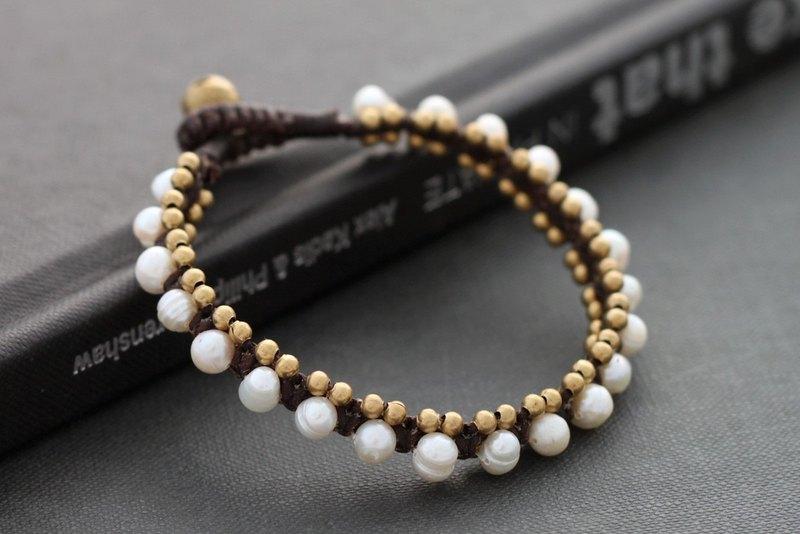 珍珠手鍊黃銅編織串珠手鍊袖口波西米亞別緻手鐲