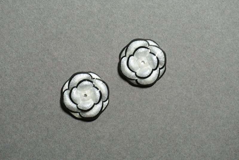 Classic Black and White Camellia Earrings (Large)