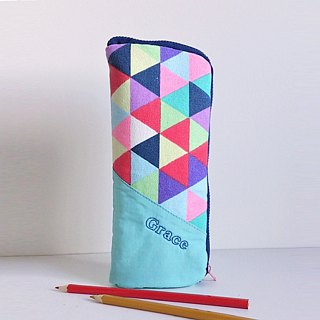Standing Pen Case (Colorful Triangles)