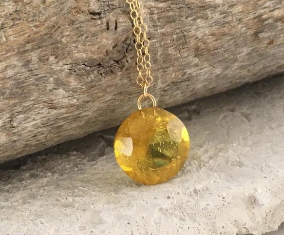Baltic marine green amber (amber) ◇ round cut K14GF Necklace