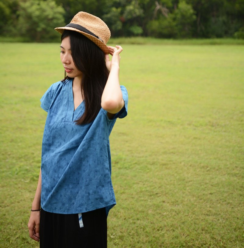 Out of the window - blue dyed cotton crepe top