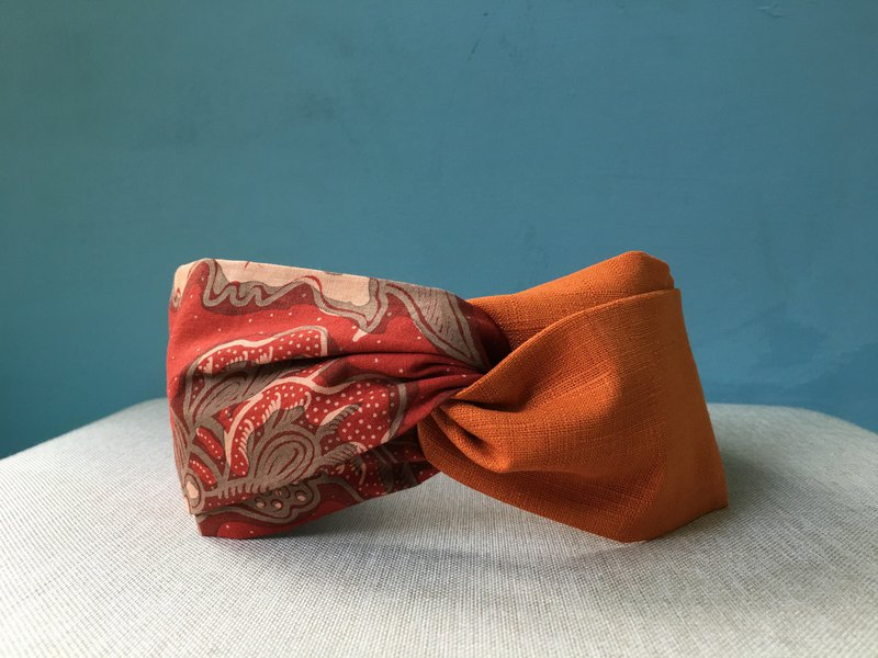 Classic hair band / Indonesian safflower orange / Indonesian batik / limited edition