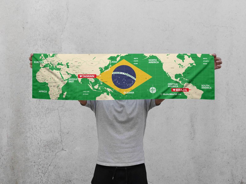 Make World Map Manufacture Sport Towel (Brazil)