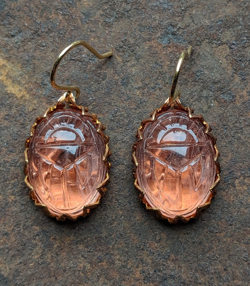Pink Scarab Glass Earrings