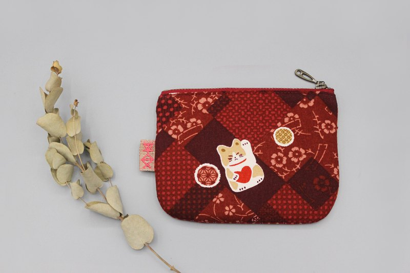 Ping An Xiaole Wallet - Cotton Ball Lucky Cat (Red Love), Japanese double-sided cloth