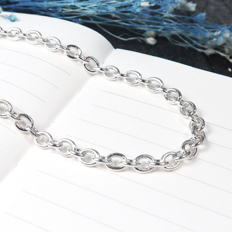 Sterling Silver with Chain Classic Circle Chain (4.0mm Wide Chain) 925 Sterling Silver Custom Length Custom Necklace
