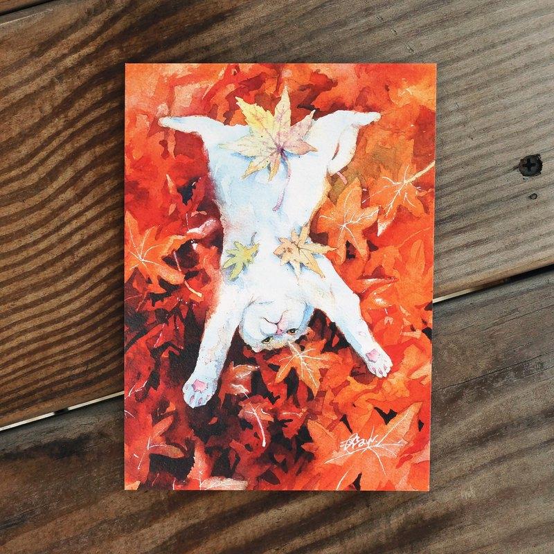 水彩繪毛孩系列明信片 - 楓顛